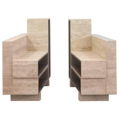 BDC Pair of Side Tables in Travertine and Alucore