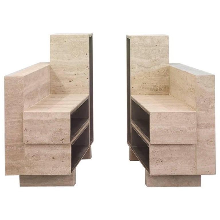 BDC Pair of Side Tables in Travertine and Alucore For Sale