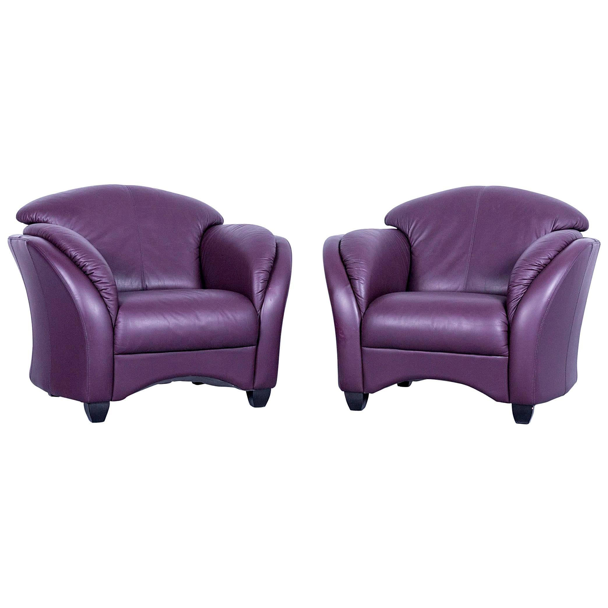 Himolla Designer Armchair Set Two Purple Leather Velvet One Seater Couch  Modern For Sale