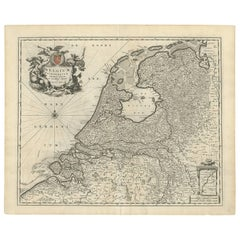 Antique Map of The Netherlands and Belgium by N. Visscher, circa 1680