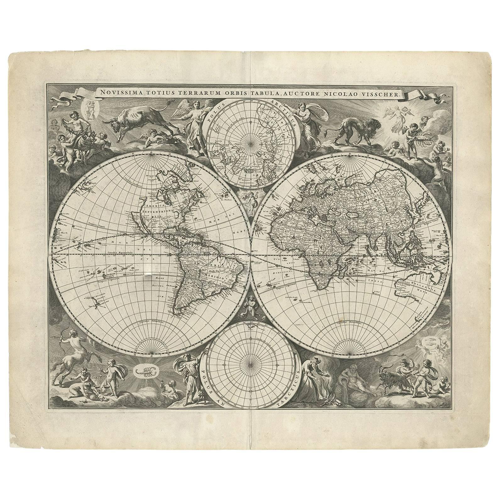 Antique World Map by N. Visscher circa 1679