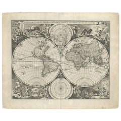 Antique World Map by N. Visscher circa 1679