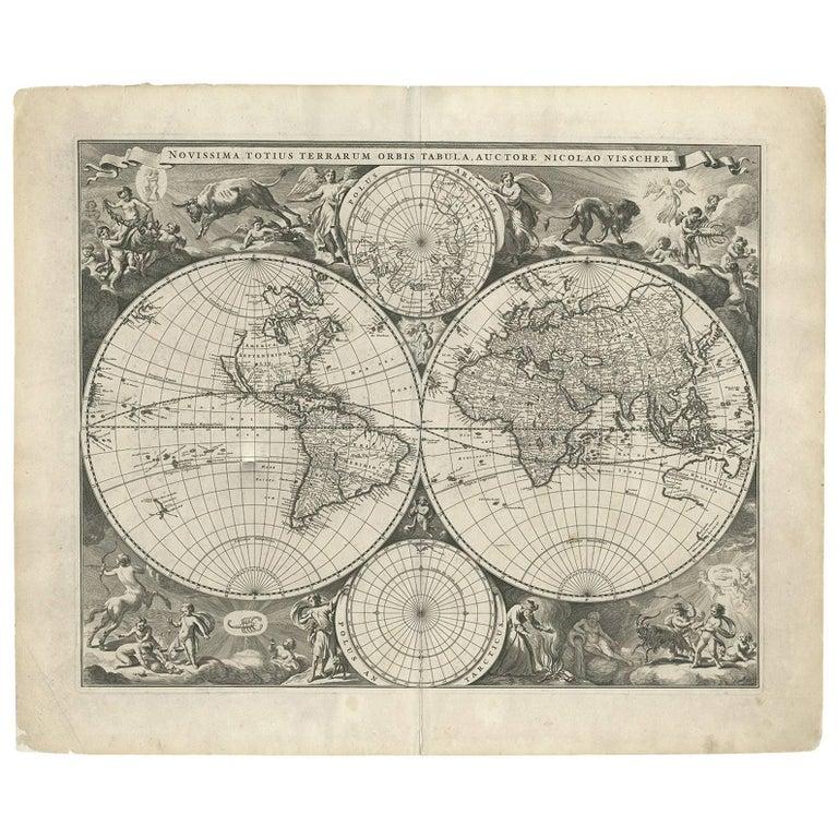 Antique World Map by N. Visscher circa 1679 For Sale