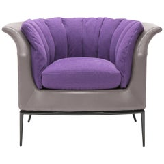 Buttercup Armchair in Purple and Gray by Luca Scacchetti