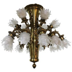 Quality Mid-20th Century French Brass Chandelier with Glass Shades