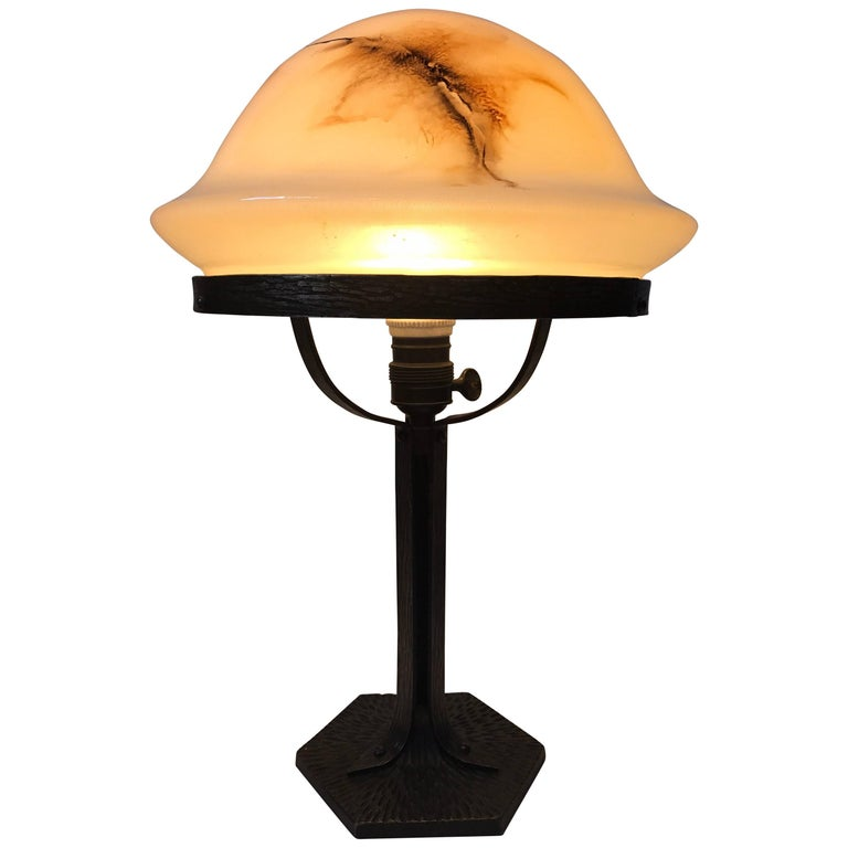 Swedish, 1920 Art Nouveau Jugendstil Wrought Iron and Art Glass Table Lamp