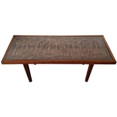 Vintage African Teak Coffee or Sofa Table with Carved Top