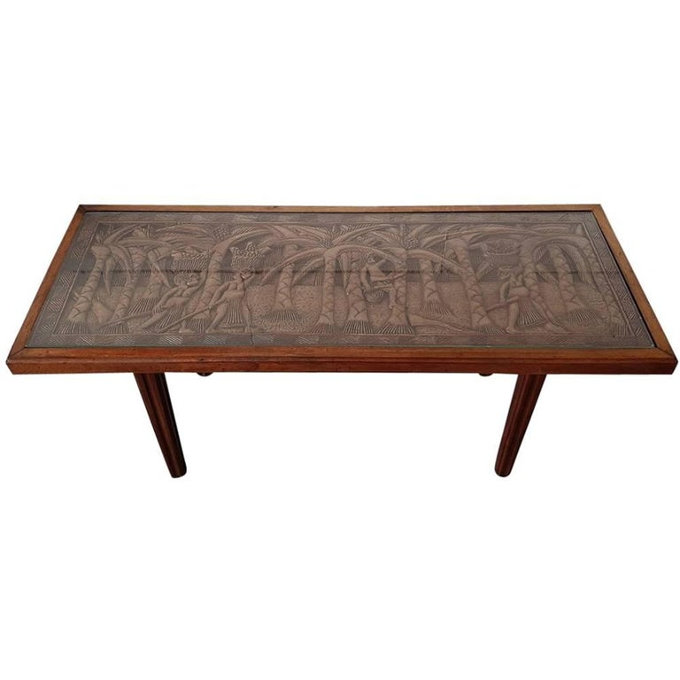 Teak Coffee Table South Africa: Vintage African Teak Coffee Or Sofa Table With Carved Top