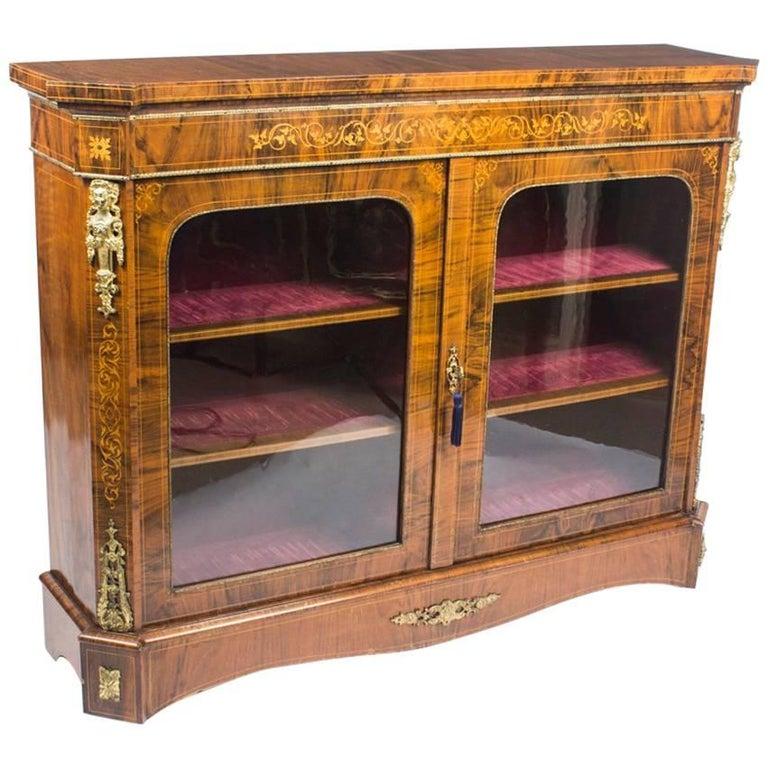 Antique Victorian Burr Walnut and Marquetry Pier Cabinet Credenza, 19th Century