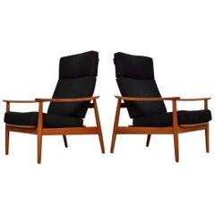 1960s Pair of Danish Teak Reclining Armchairs by Arne Vodder