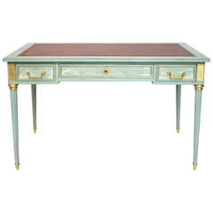 Louis XVI Style Flat Desk Lacquered in Celadon, Decor of Landscapes, circa 1950