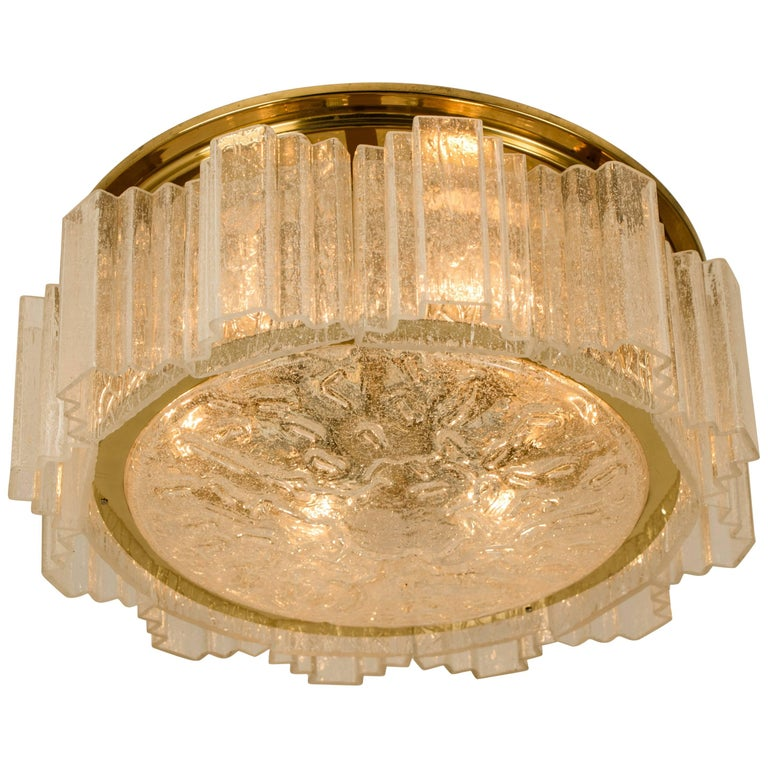 Glass and Brass Flush Mount Chandelier by Doria, 1960s