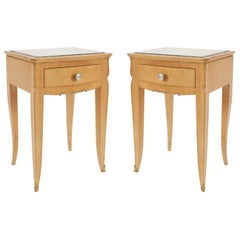Pair of French 1940s Sycamore Low Bedside / End Tables
