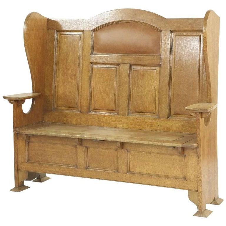 Wylie & Lochhead Style of M H Baillie Scott An Arts & Crafts Glasgow Oak Settle For Sale
