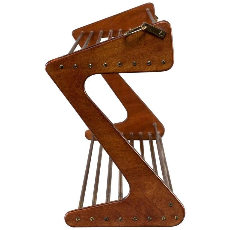 Danish Mid-Century Modern Teak and Brass Rod Wall Hanging Shoe Rack