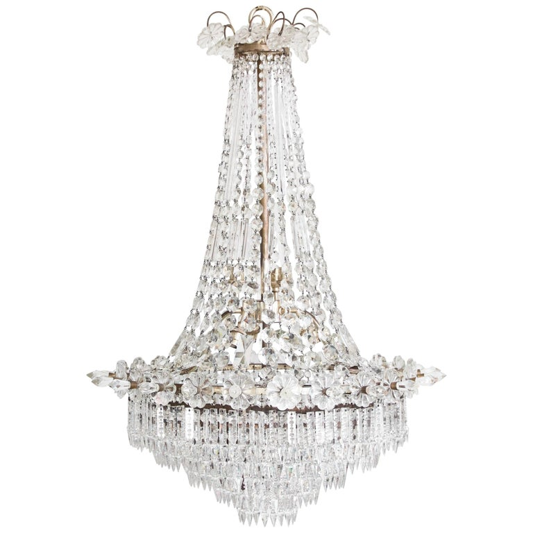 Large 1920s English Silver Gilt and Crystal Waterfall Base Festoon Chandelier