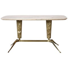 Italian Mid Century Sofa Table with veined Marble Top, 1950