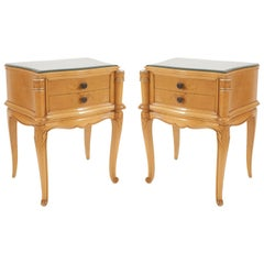 Pair of French Mid-Century Maple End Tables