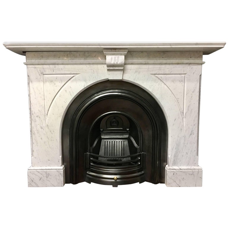 Antique Victorian Marble Arch Fireplace Surround For Sale