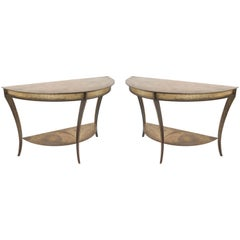 Pair of American Mid-Century Demilune Console Tables