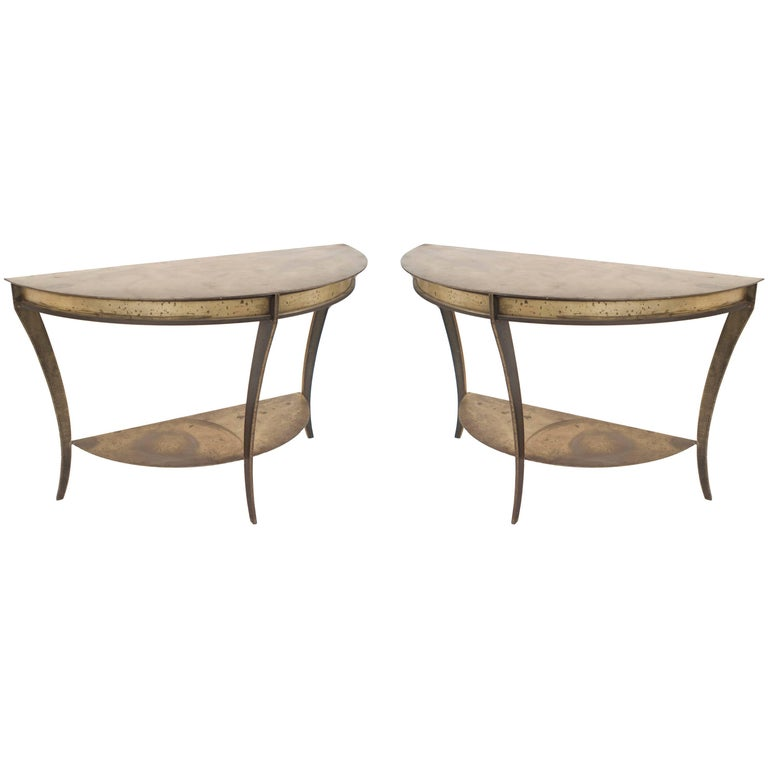"Pair of American Midcentury Brass and Steel ""D"" Shaped Demilune Console Tables"