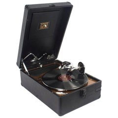Antique Portable HMV Gramophone, Mod 102 and Disc Carrier, 1934
