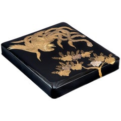 Japanese Lacquerware Writing Box with a Phoenix Motif