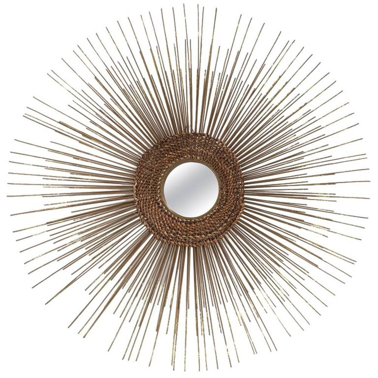 Metal Starburst Wall Sculpture Woven Detail, 1970s For Sale