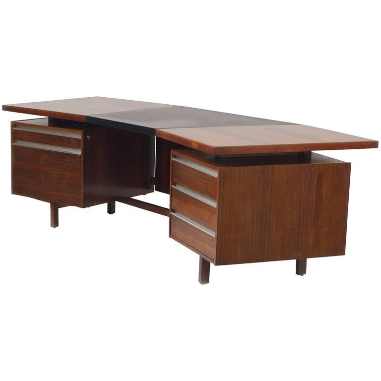 Midcentury '1960s' Dutch 'Continental' Rosewood Executive Desk