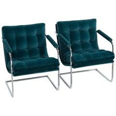 Pair of Chromium Steel Framed Peacock Velvet Armchairs, 1960s