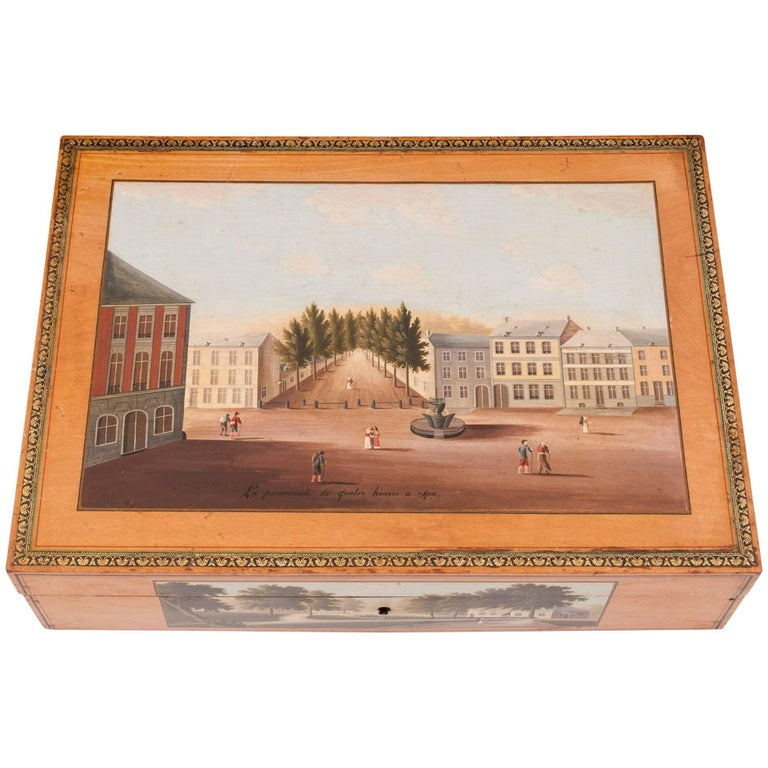 Painted Belgian Spa Birch Sewing Box, 18th Century