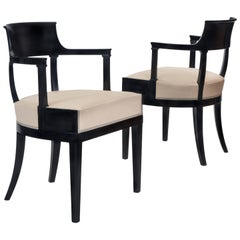 Pair Swedish Empire Period Ebonized Chairs