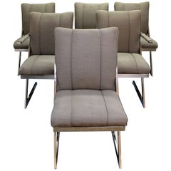 Set of 6 Mid-Century Modern Milo Baughman for DIA Z-Bar Cantilever Dining Chairs