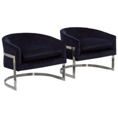 Pair of Milo Baughman Steel Framed Tub Armchairs 1970s