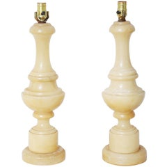Pair of Turned Alabaster Column Lamps, 1940s