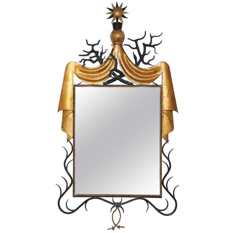 Large Parcel-Gilt and Black Painted Iron Mirror after Model by Gilbert Poillerat