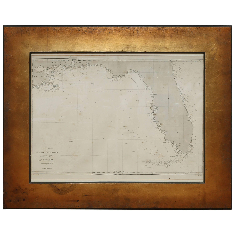 Very Rare Marine Map of Florida, France, 1864
