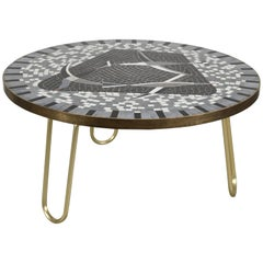 Berthold Müller German Round Mid-Century Seagull Motive Mosaic Sofa Table, 1950s
