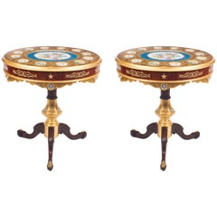 Pair of French Ormolu and Sèvres Style Porcelain Occasional Side Tables