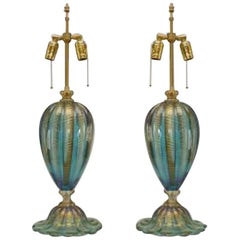 "Pair of Italian Murano ""FENICIO"" Gold Dusted and Swirl Aqua Glass Table Lamps"