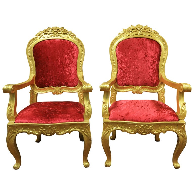 Pair of Louis XV Style Giltwood Armchairs