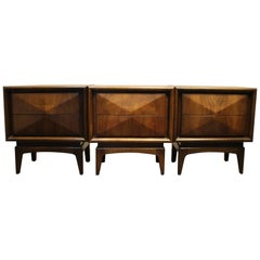 Vladimir Kagan Style Diamond Front Walnut Nightstands, Set of Three
