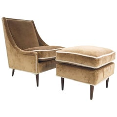 Vintage Milo Baughman Lounge Chair and Ottoman Restored in Ralph Lauren Velvet