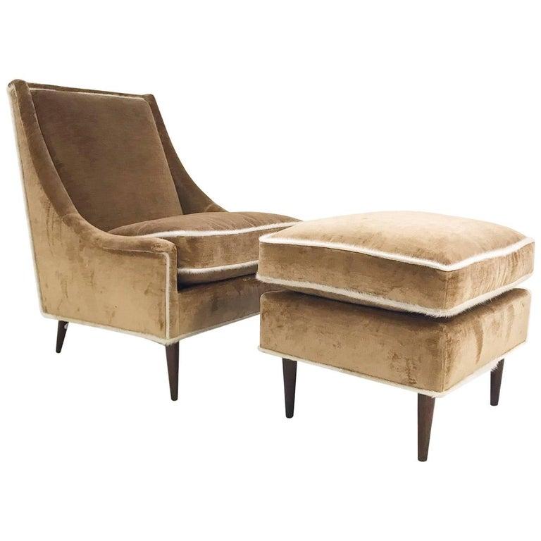 Vintage Milo Baughman Lounge Chair and Ottoman Restored in Ralph Lauren Velvet