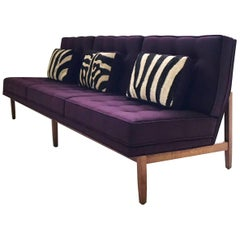 Vintage Florence Knoll Sofa Restored in Loro Piana Aubergine Cashmere