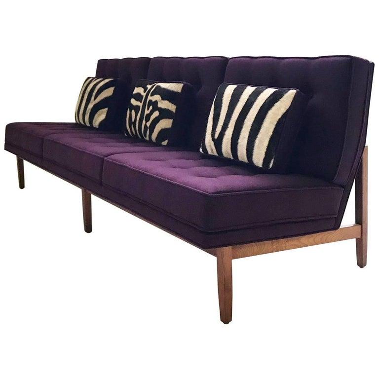 Vintage Florence Knoll Sofa Restored in Loro Piana Aubergine Cashmere
