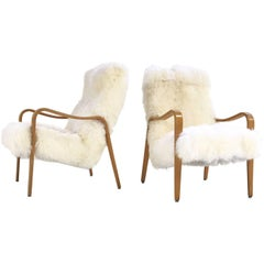 Vintage Thonet Bentwood Lounge Chairs Restored in Sheepskin, Pair