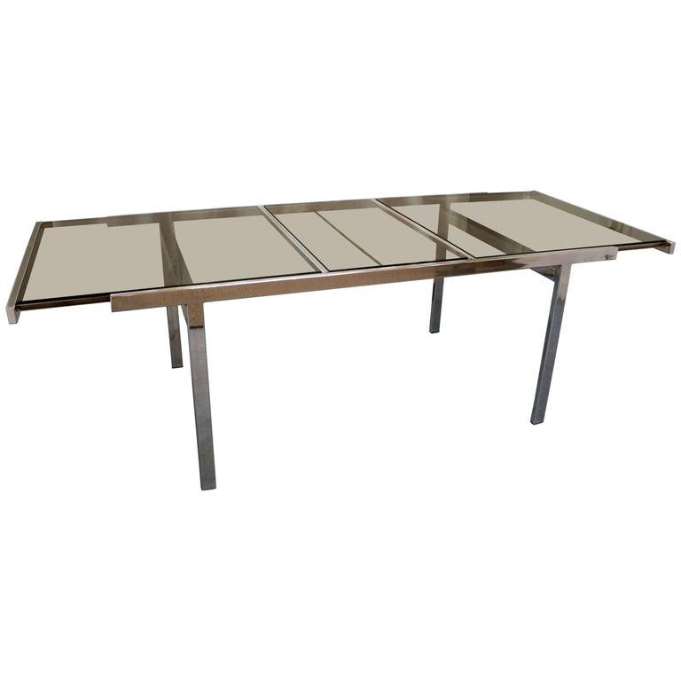 Mid-Century Modern Milo Baughman for DIA Chrome Extension Dining Table