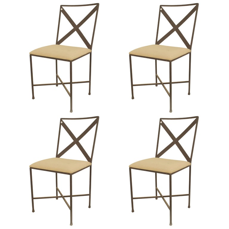 Set of Four American Midcentury Steel Frame Side Chairs