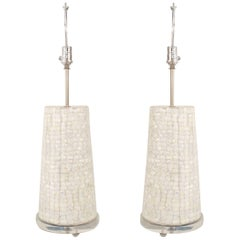 Pair of American Midcentury Tessellated Table Lamps